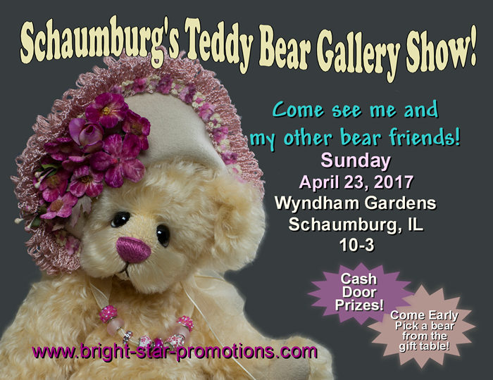 I was really thrilled to find out that my Miss Petunia bear was chosen for the collectors postcard front for the April 2017 Schaumburg Teddy Bear Show!
